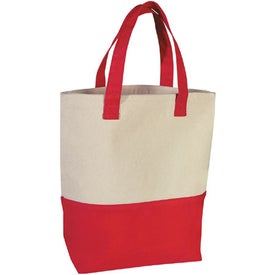 Logo Heavy Cotton Canvas Two-Tone Tote Bag