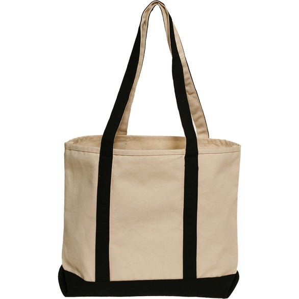 Natural / Black Heavyweight Cotton Tote Bag