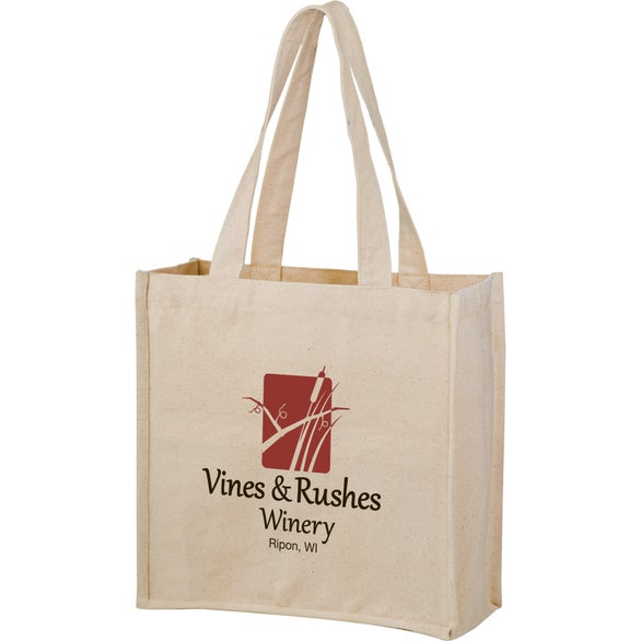 Natural Canvas Heavyweight Cotton Wine Bottle Tote Bag
