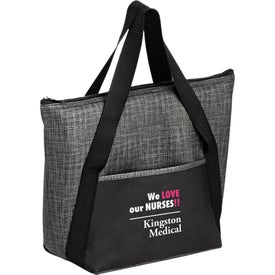 Insulated Silver and Black Tweed Look Non-Woven Tote Bag