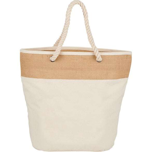 Natural Jute Accent Cotton Canvas Rope Tote Bag