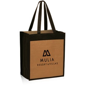 Jute Color Panel Tote Bags