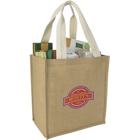 Jute Grocery Tote Bag Imprinted with Your Log