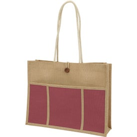Jute Panel Pocket Tote Bag Imprinted with Your Logo