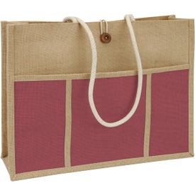 Jute Panel Pocket Tote Bag for Your Company