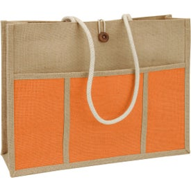Jute Panel Pocket Tote Bag