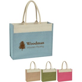 Personalized Jute Tote Bag with Front Pocket