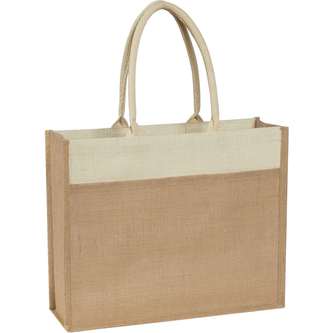Beige Jute Tote Bag With Front Pocket