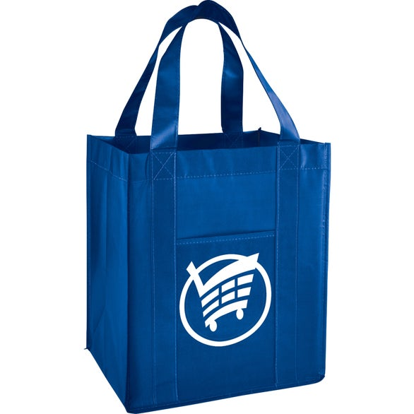 Royal Blue Deluxe Laminated Non-Woven Grocery Tote Bag