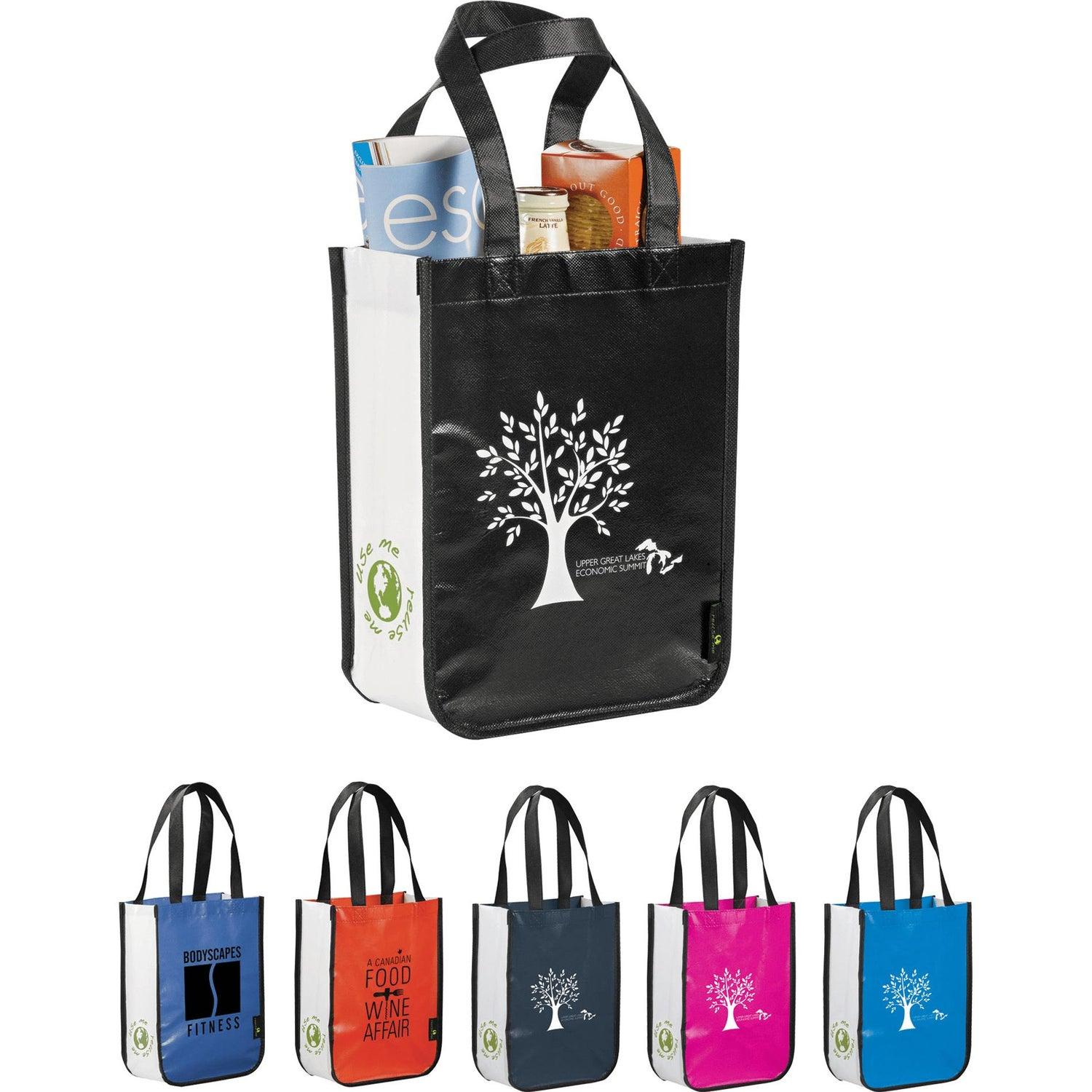 13bf2a7eec4 Promotional Laminated Non-Woven Small Shopper Totes with Custom Logo ...