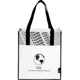 Laminated Non-Woven Thank You Big Grocery Tote Branded with Your Logo