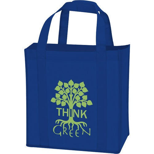 Royal Blue Laminated Non-Woven Grocery Tote Bag