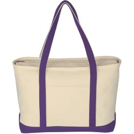 Personalized Large Heavy Cotton Canvas Boat Tote Bag
