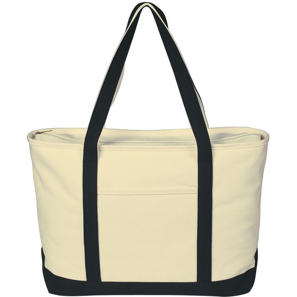 Natural / Black Large Heavy Cotton Canvas Boat Tote Bag