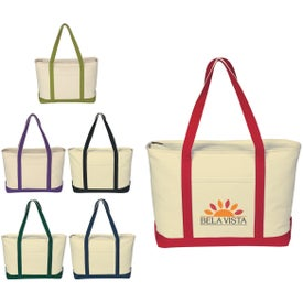 Large Heavy Cotton Canvas Boat Tote Bag for your School