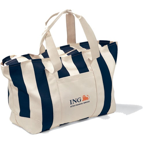 Promotional Large Striped Canvas Totes with Custom Logo for $10.64 Ea.