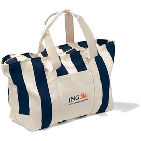 Large Striped Canvas Tote