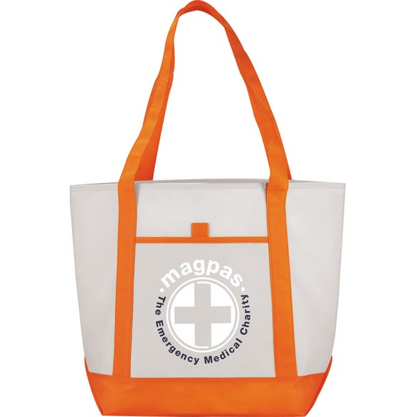 Natural / Orange Lighthouse Non-Woven Boat Tote Bag