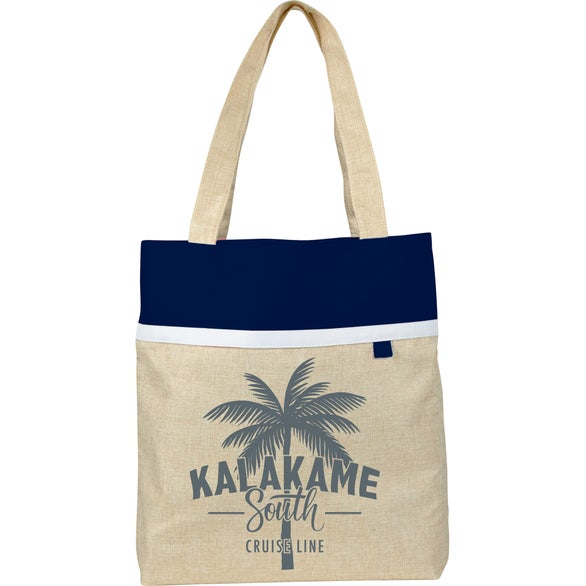 Tan / Navy Blue Lined Linen Tote Bag
