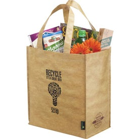 Matte Laminated Grocers Brown Bag Tote Imprinted with Your Logo