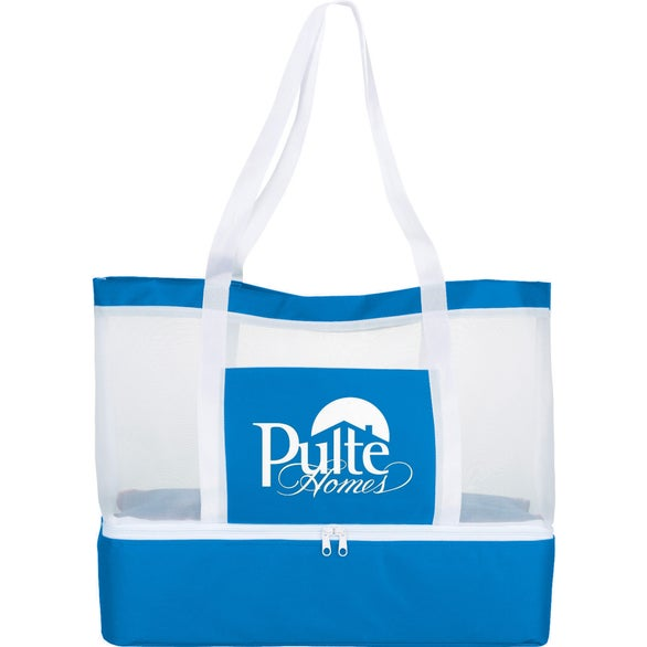 Process Blue / Frosted Mesh Outdoor Cooler Tote Bag