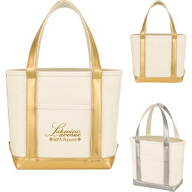Metallic Accent Cotton Canvas Tote Bag