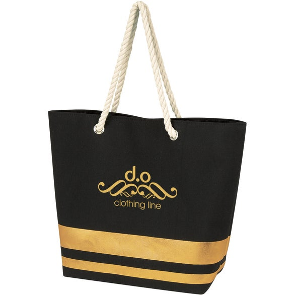 Black / Gold Metallic Accent Rope Tote Bag
