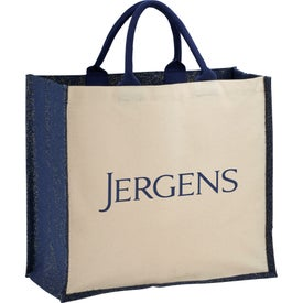 Metallic Jute and Cotton Shopper Tote Bag