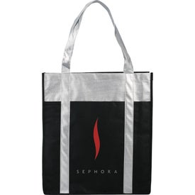 Metallic Trim Non-Woven Shopper Tote Bag