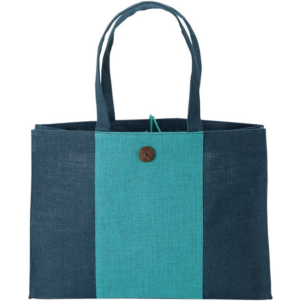 Blue / Blue Charlotte Natural Jute Tote Bag