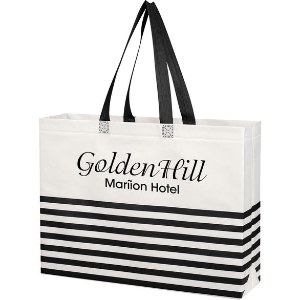 White / Black Non-Woven Horizontal Stripe Tote Bag