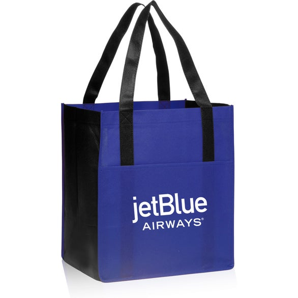 Blue / Black Non-Woven Shoppers Pocket Tote Bag