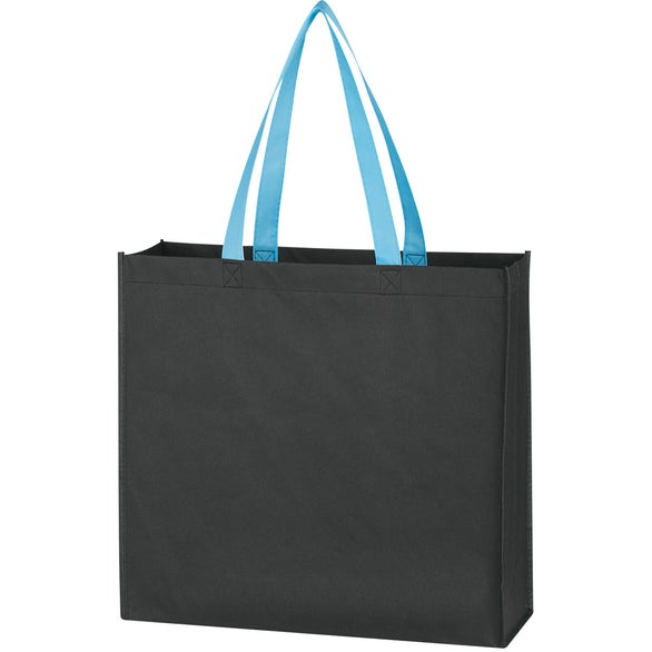 Black / Carolina Blue Water-Resistant Non-Woven Tote Bag