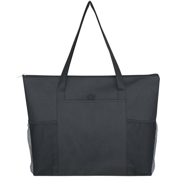 Black Non-Woven Voyager Zippered Tote Bag