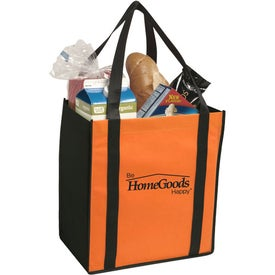 Logo Non-Woven Two-Tone Grocery Tote Bag