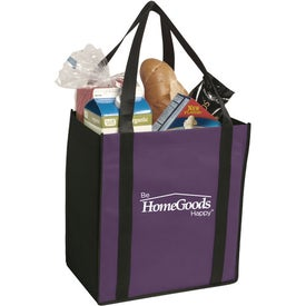 Non-Woven Two-Tone Grocery Tote Bag with Your Slogan