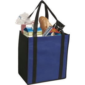 Non-Woven Two-Tone Grocery Tote Bag Branded with Your Logo