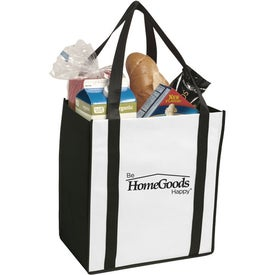 Non-Woven Two-Tone Grocery Tote Bag Imprinted with Your Logo