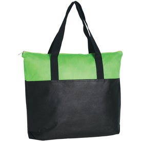Non-Woven Two Tone Zippered Tote Bag for Advertising