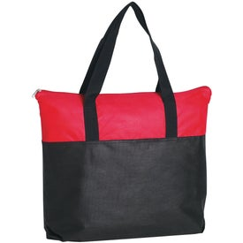 Monogrammed Non-Woven Two Tone Zippered Tote Bag
