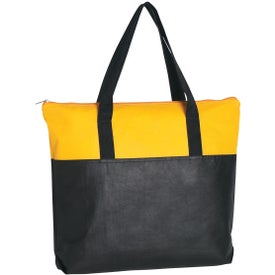 Branded Non-Woven Two Tone Zippered Tote Bag