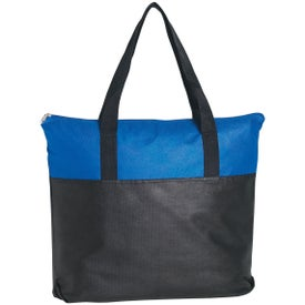Imprinted Non-Woven Two Tone Zippered Tote Bag