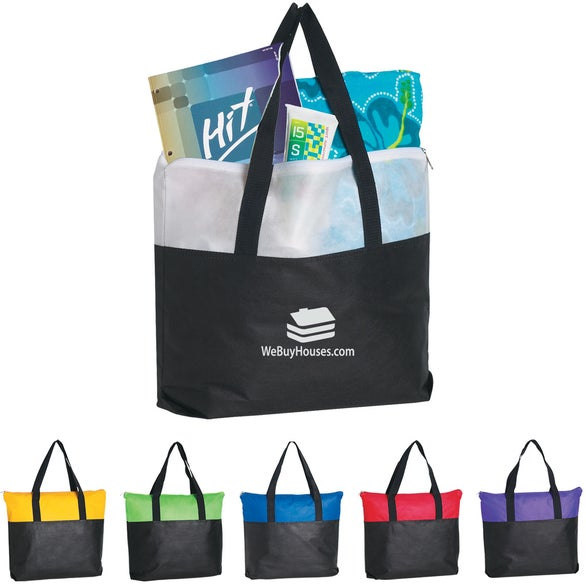 Non-Woven Two Tone Zippered Tote Bag