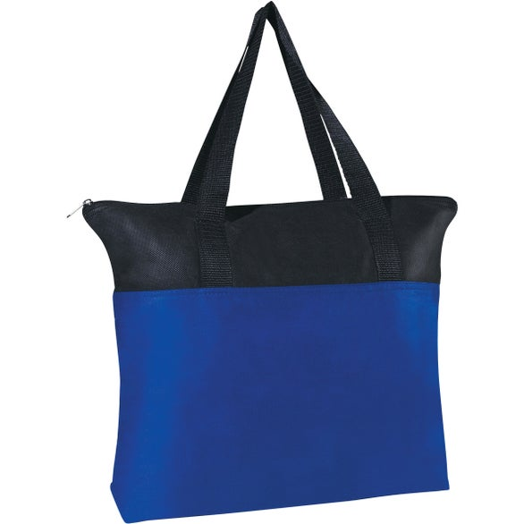 Royal Blue / Black Non-Woven Zippered Tote Bag
