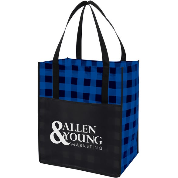 Black / Blue Northwoods Laminated Non-Woven Tote Bag