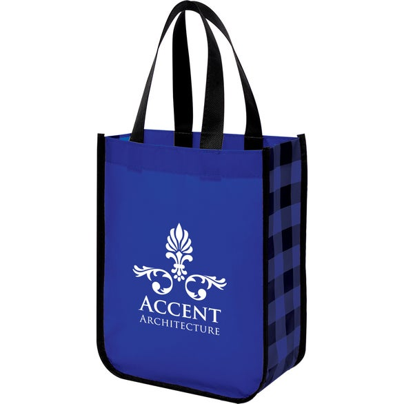 Blue / Black Northwoods Laminated Non-Woven Tote Bag