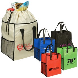 Non-Woven Drawstring Grocery Tote with Your Logo