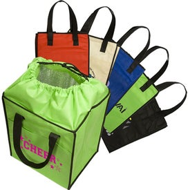 Imprinted Non-Woven Drawstring Grocery Tote