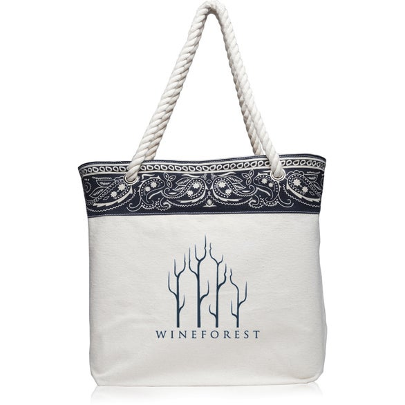 White / Navy Paisley Pattern Canvas Tote Bag