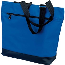 Printed Plaza Tote Bag with Front Zipper Pocket